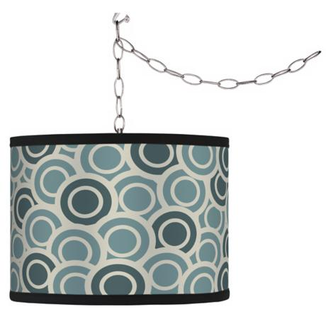 Swag Style Blue/Green Circlets Shade Plug-In Chandelier