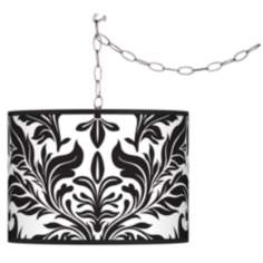 Swag Style Black Tapestry Shade Plug-In Chandelier