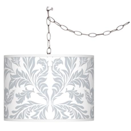 Swag Style Silver Baroque Shade Plug-In Chandelier