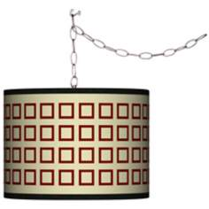 Swag Style Simply Squares Shade Plug-In Chandelier