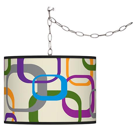Swag Style Retro Square Scramble Shade Plug-In Chandelier