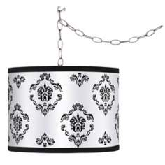 Swag Style French Crest Shade Plug-In Chandelier