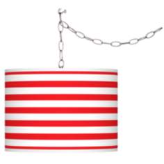 Swag Style Red Horizontal Stripe Shade Plug-In Chandelier