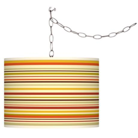 Stacy Garcia Lemongrass Stripe Giclee Plug-In Swag Chandelier