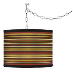 Swag Style Spice Stripe Shade Plug-In Chandelier