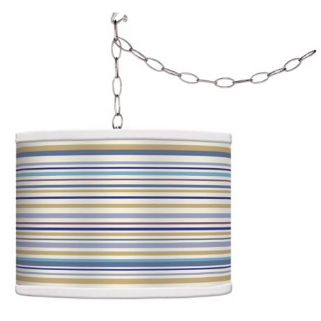 Stacy Garcia Landscape Stripe Giclee Plug-In Swag Chandelier
