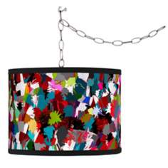 Swag Style Color Splatter Shade Plug-In Chandelier