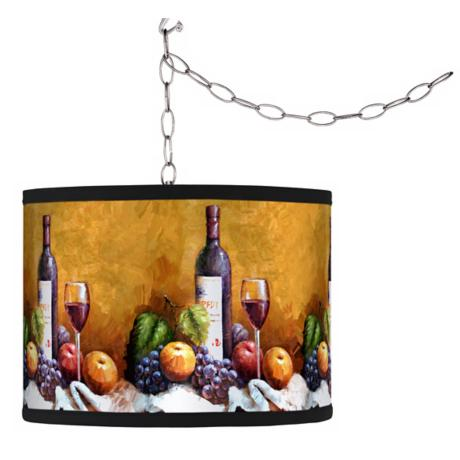Swag Style Wine and Fruit  Shade Plug-In Chandelier