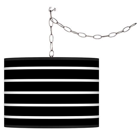 Swag Style Bold Black Stripe Shade Plug-In Chandelier