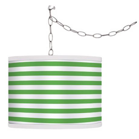 Swag Style Green Horizontal Stripe Shade Plug-In Chandelier