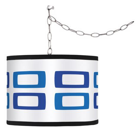 Swag Style Blue Rectangles Shade Plug-In Chandelier