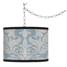 Swag Style Ivory and Blue Tapestry Shade Plug-In Chandelier