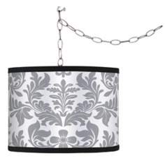 Swag Style Grey Flourish Shade Plug-In Chandelier