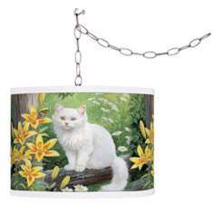 Cat and Butterfly Giclee Swag Style Plug-In Chandelier