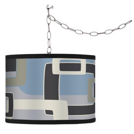Swag Style Retro Lithic Rectangles Shade Plug-In Chandelier