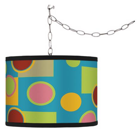 Swag Style Vibrant Retro Medley Shade Plug-In Chandelier