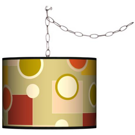 Swag Style Retro Citrus Medley Shade Plug-In Chandelier