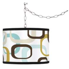 Swag Style Countess Square Scramble Shade Plug-In Chandelier