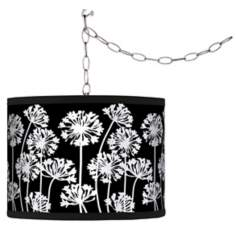 Stacy Garcia African Lily Black Giclee Plug-In Swag Chandelier
