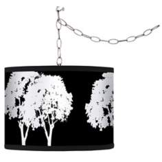 Stacy Garcia Forest Black Giclee Plug-In Swag Chandelier