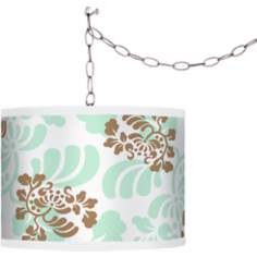 Classic Mist & Taupe Shade Swag Style Plug-In Chandelier
