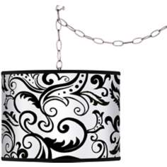 Regency Black Giclee Plug-In Swag Chandelier