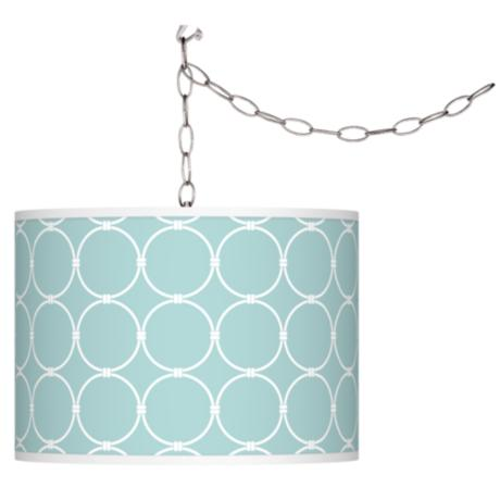 Aqua Interlace Giclee Plug-In Swag Chandelier