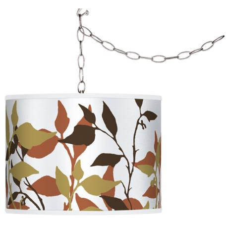 Leaf Dance Giclee Swag Style Plug-In Chandelier