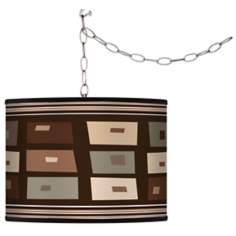 Retro Rectangles Giclee Swag Style Plug-In Chandelier