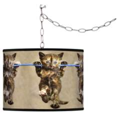 Cool Cat Giclee Swag Style Plug-In Chandelier