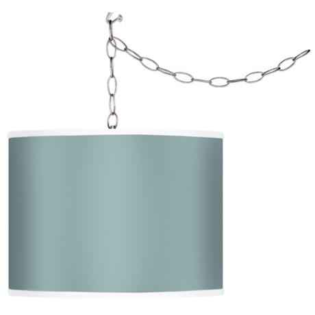 Festoon Aqua Giclee Swag Style Plug-In Chandelier