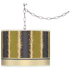 Stacy Garcia Lexington Stripe Avocado Plug-In Swag Chandelier