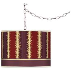 Lexington Stripe Cinnamon Giclee Swag Plug-In Chandelier