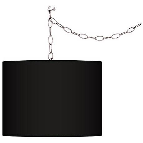 "All Black Giclee Swag Style 13 1/2"" Wide Plug-In Chandelier"