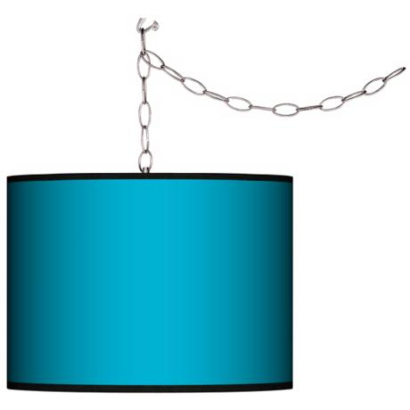 All Aqua Swag Style Plug-In Chandelier