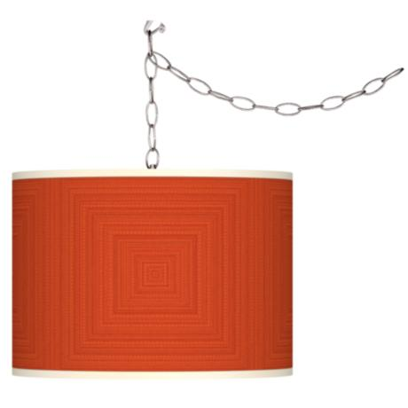 Stacy Garcia Crackled Square Coral Plug-In Swag Chandelier