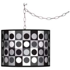 Black and Grey Dotted Squares Swag Plug-In Chandelier