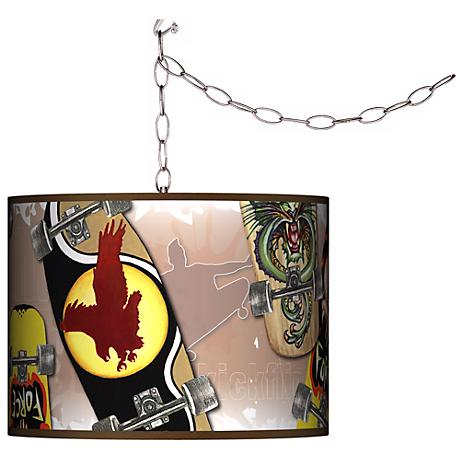 "Skateboard Mania Swag 13 1/2"" Wide Plug-In Chandelier"