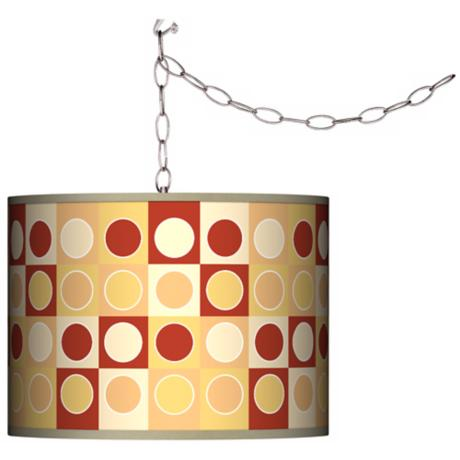 Swag Style Retro Dotted Squares Shade Plug-In Chandelier