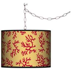 Crimson Coral Swag Style Plug-In Chandelier
