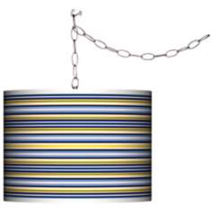 Charleston Stripes Giclee Swag Style Plug-In Chandelier