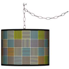 Pixel City Giclee Swag Style Plug-In Chandelier