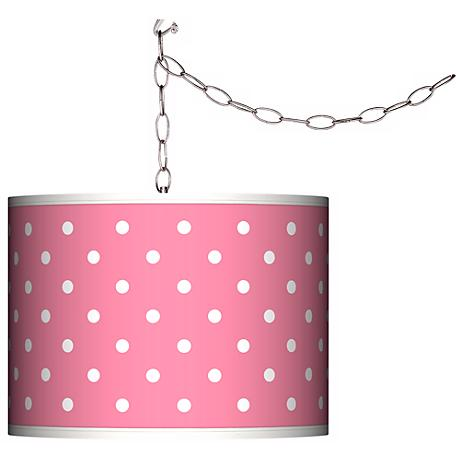 Swag Style Mini Dots Pink Shade Plug-In Chandelier