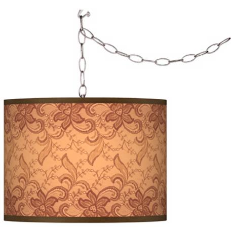 Swag Style Sepia Lace Shade Plug-In Chandelier