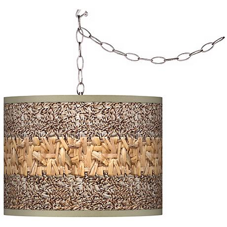 Swag Style Woven Fundamentals Shade Plug-In Chandelier