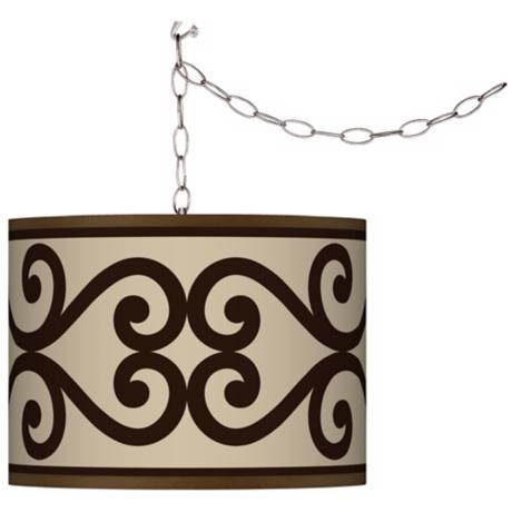 Swag Style Cambria Scroll Shade Plug-In Chandelier