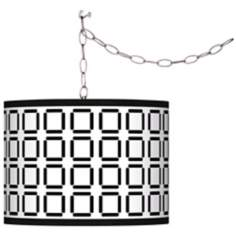 Swag Style Open Grid Shade Plug-In Chandelier
