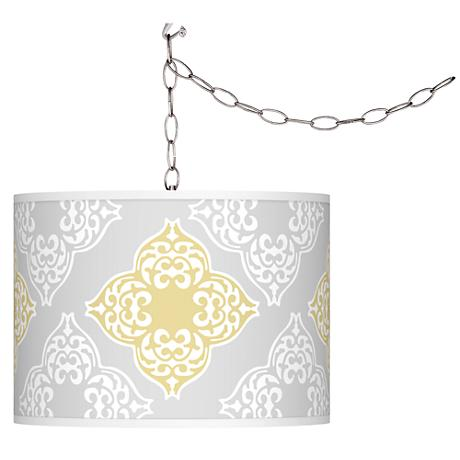 Swag Style Aster Grey Shade Plug-In Chandelier
