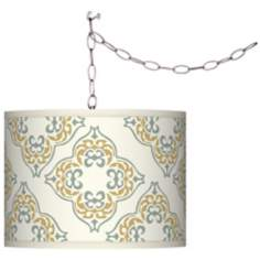 Swag Style Aster Ivory Shade Plug-In Chandelier