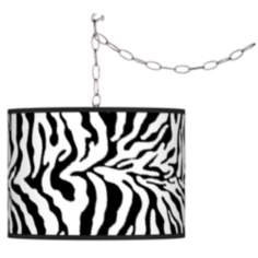 Swag Style Safari Zebra Giclee Shade Plug-In Chandelier